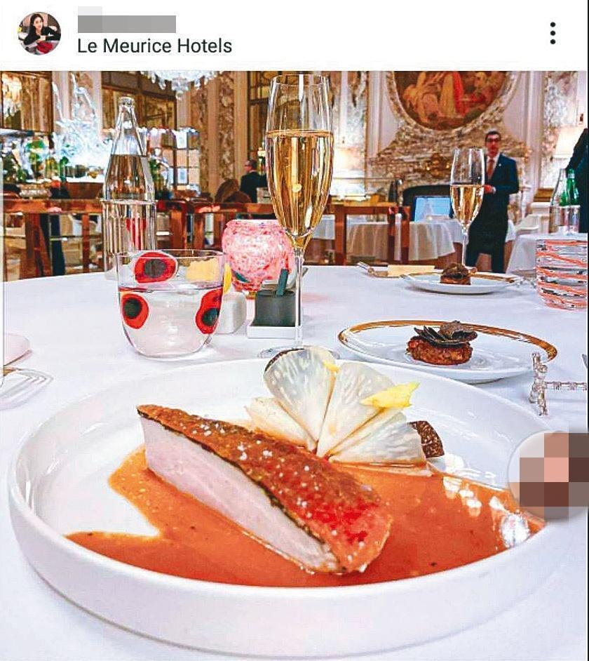 爆料者指稱,今年1月初王敏錡曾和Molly同赴巴黎,替1月生日的Molly慶生,從2人的臉書、IG中比對可發現,他們的確同在巴黎米其林三星餐廳用餐。(翻攝自Molly IG)