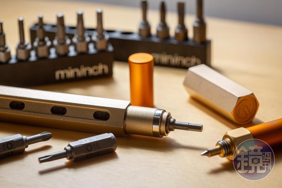 運用彩色筆概念設計的工具筆,可輕鬆更換各種螺絲起子頭。