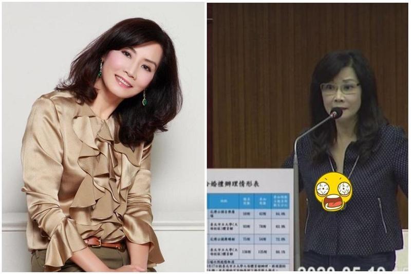 台北議員秦慧珠質詢時,胸前意外走光。(翻攝自臉書、台北市議會影片)