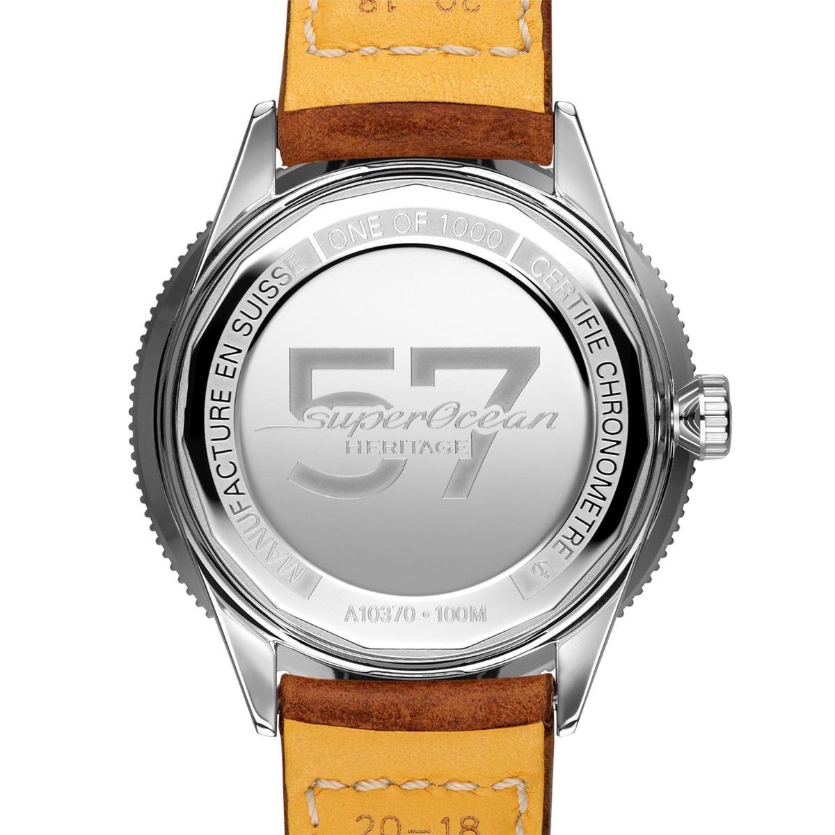 Superocean Heritage 57腕錶在後底蓋寫下大大的57數字,用來紀念Superocean腕錶的起源1957年,同時在限量版上還有ONE OF 1000字樣。