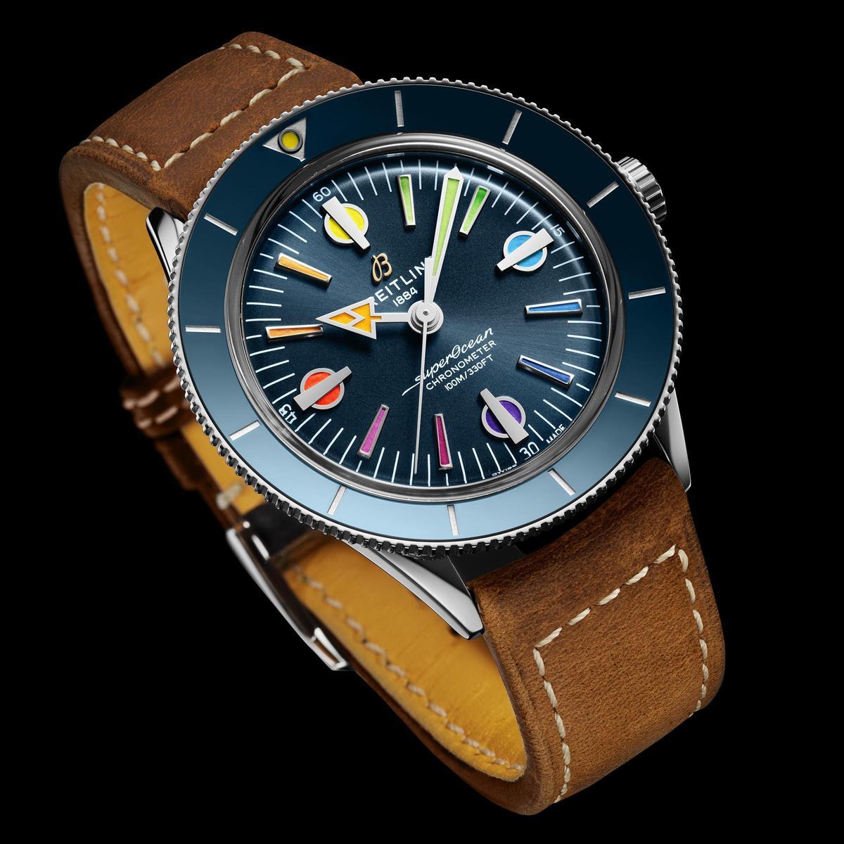 Superocean Heritage 57「彩虹版」第二代,把面盤跟陶瓷材質錶圈換成藍色,看起來更亮眼。