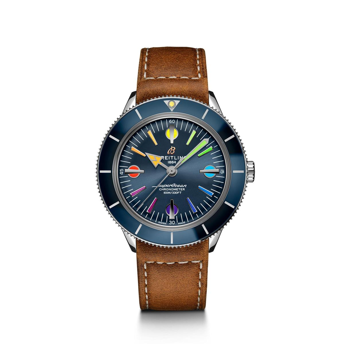 Superocean Heritage 57彩虹版第二代腕錶,全球限量1,000只,定價為150,000 (米蘭鏈帶)、NT$134,000(皮革錶帶)。
