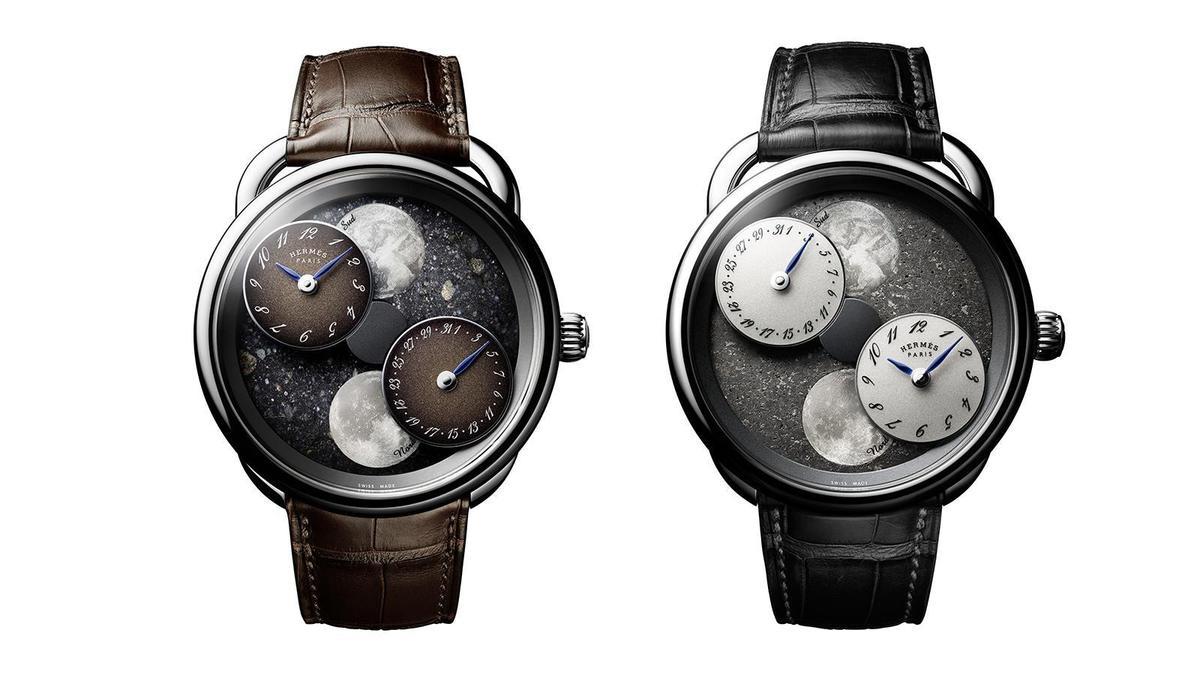 月讀時光月球隕石款腕錶(左)、黑色撒哈拉隕石款(右)| 錶徑43mm、18K白金材質、H1837自動上鏈機芯、時間與日期及南北半球月相盈虧指示、防水30米、限量30只