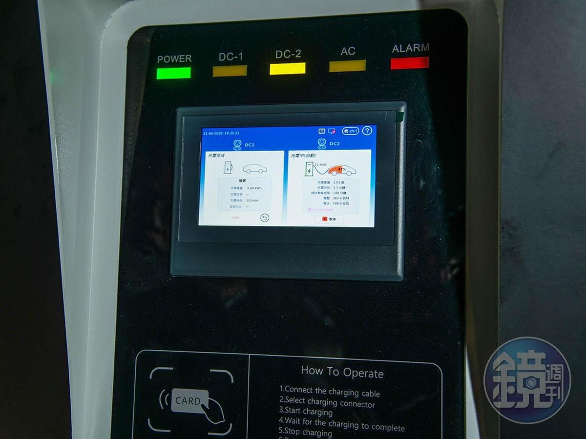 充電裝置操作相當簡單,充電速度也十分快速。