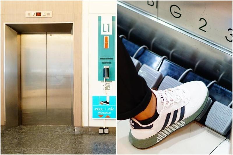 曼谷一間百貨公司將電梯改造成用腳踩踏控制按鈕,防止手部交叉感染。(翻攝自Seacon Square l ซีคอนสแควร์臉書)