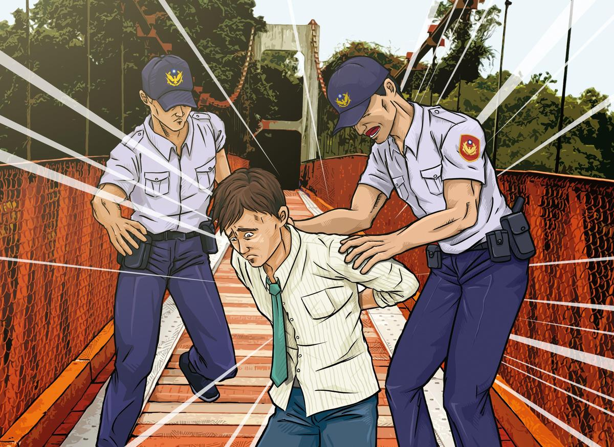 呂政軒犯案後到烏山頭水庫企圖跳吊橋輕生,被及時趕到的警方攔下。(圖為示意畫面)