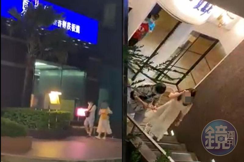林女與人夫前往鐵板燒餐廳用餐,用餐完畢後離開餐廳。(讀者提供)