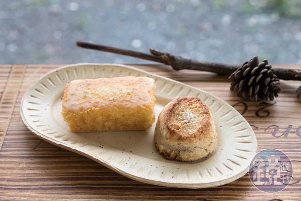 不同一般厚重紮實口感,店內的「海鹽司康」(右,40元/個)與「檸檬蛋糕」(左,60元/個)清爽美味。