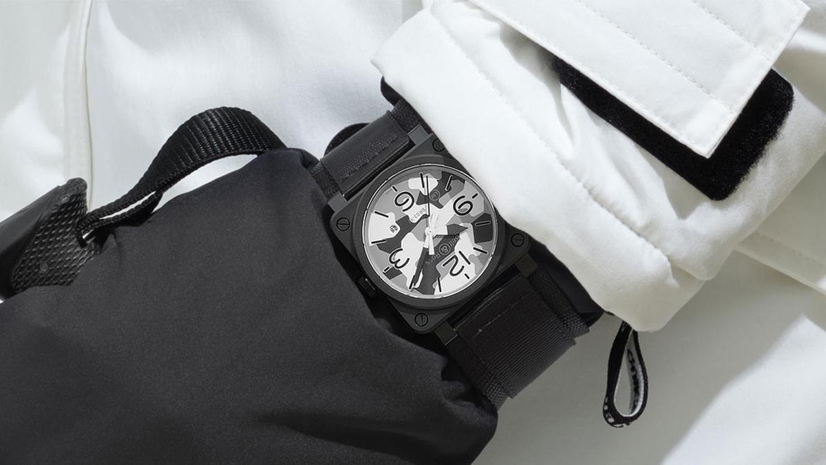 今年新作BR03-92 White Camo,以雪地迷彩為面盤圖案設計,持續壯大BELL & ROSS的軍事偽裝色主題錶款。