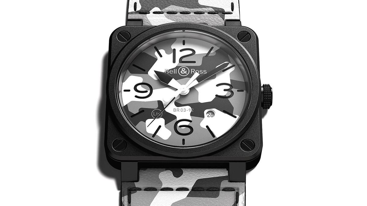 BR03-92 White Camo | 錶徑42mm、陶瓷材質、BR Cal. 302自動上鏈機芯、時間及日期指示、防水100米、限量999只、建議售價NT$ 130,400