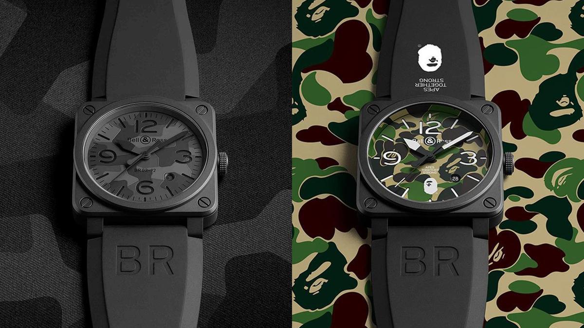 2017年的BR03-92 Black Camo(左)、和2018年與BAPE聯名的BR03-92 Green Camo(右),都是這幾年人氣很旺的迷彩話題款。