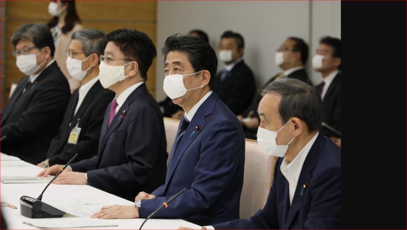 日本首相安倍主持內閣疫情會議。(翻攝自安倍twitter)