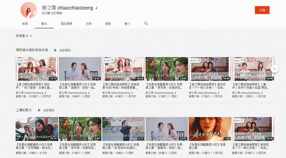 曾之喬在YouTube開設個人頻道,短短兩個月就突破20萬人訂閱,影片點擊率也相當亮眼。(翻攝自曾之喬YouTube)