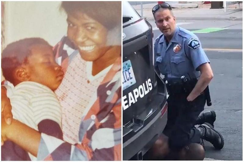 46歲的佛洛伊德被明尼蘇達警員沙文(Derek Chauvin)膝蓋壓頸。(翻攝自臉書「Shaun King」、翻攝自推特)