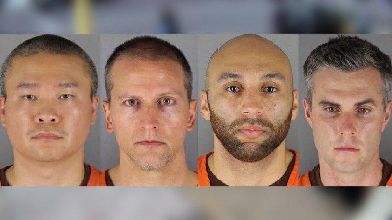 美國4名涉案警察全被起訴,以膝蓋重壓佛洛伊德致死的警察蕭文,追加二級謀殺罪。 (翻攝自Twitter)