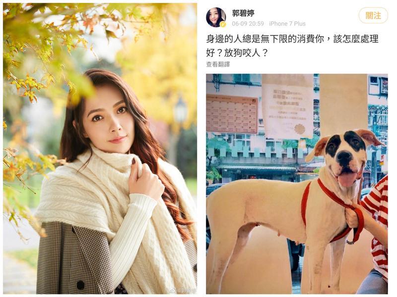 郭碧婷在微博發文怒指被身邊人消費,氣到想放狗咬人。(翻攝自郭碧婷微博)