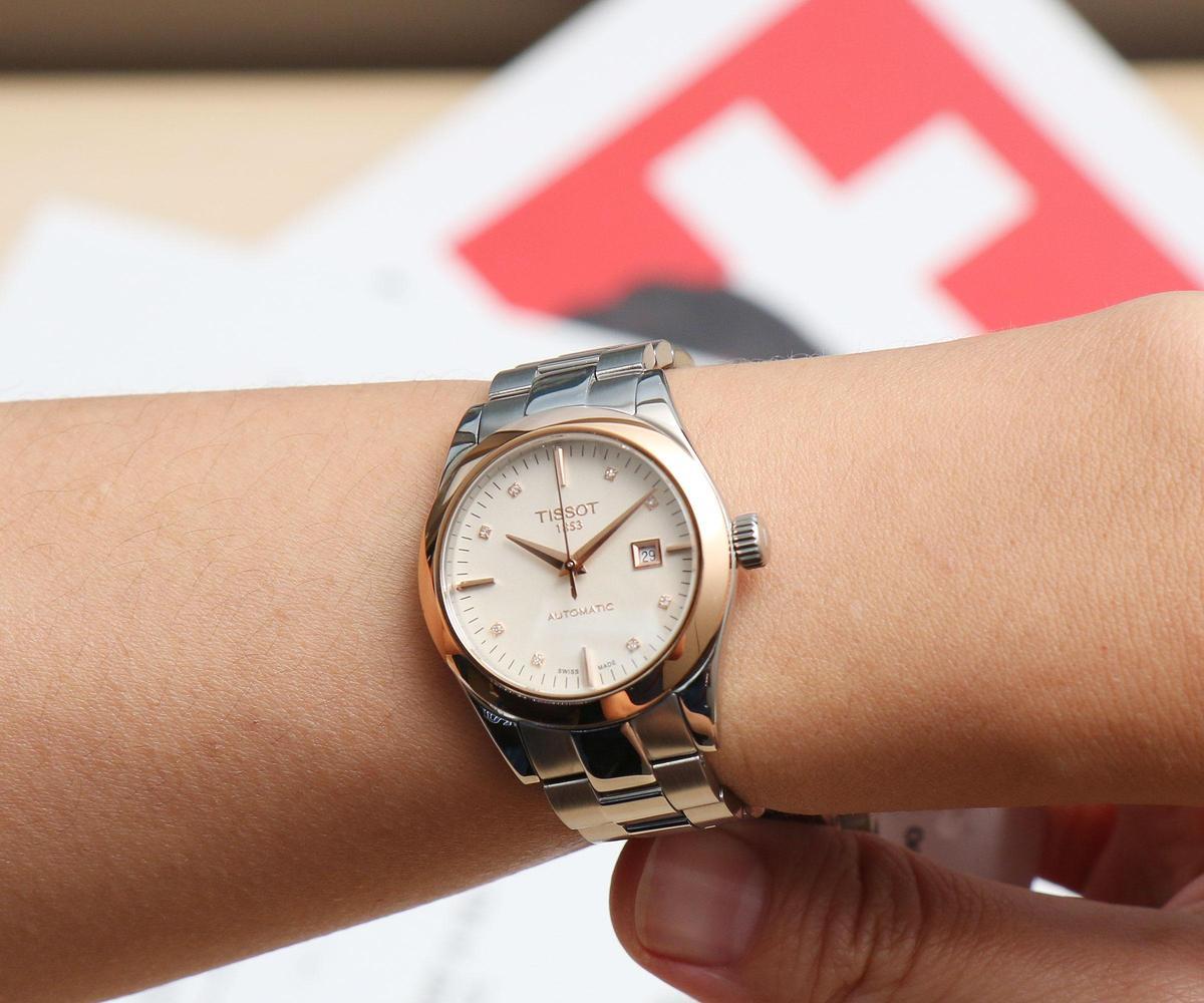T-My Lady系列雙色金腕錶,29mm精鋼錶殼配上18K金錶圈,米白色面盤上裝飾鑽石時標,裝載全新Powermatic 48自動機芯,定價NT$48,600。