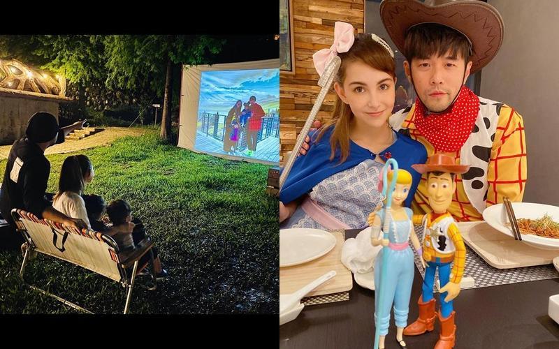 周杰倫與昆凌為愛子辦露營生日趴,滿溢幸福光。(翻攝自昆凌IG)