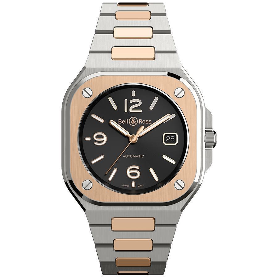 BR 05 Steel & Gold | 錶徑40mm、不鏽鋼及18K玫瑰金材質、時間及日期指示、自動上鏈機芯、防水100米、建議售價NT$ 360,000
