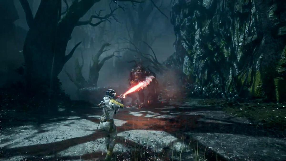 玩家在《Returnal》中扮演陷入生死循環的太空人。(圖片來源:直播截圖)