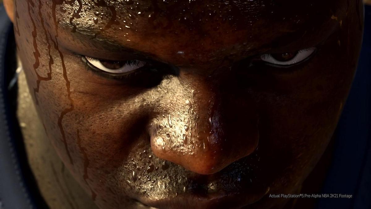 《NBA 2K21》擬真細緻的臉部特寫。(圖片來源:直播截圖)