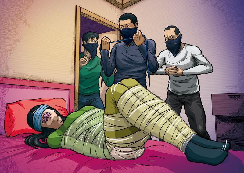 游男等人侵入黃女住處劫財,用膠帶將黃綑成木乃伊狀,最後將她勒斃。