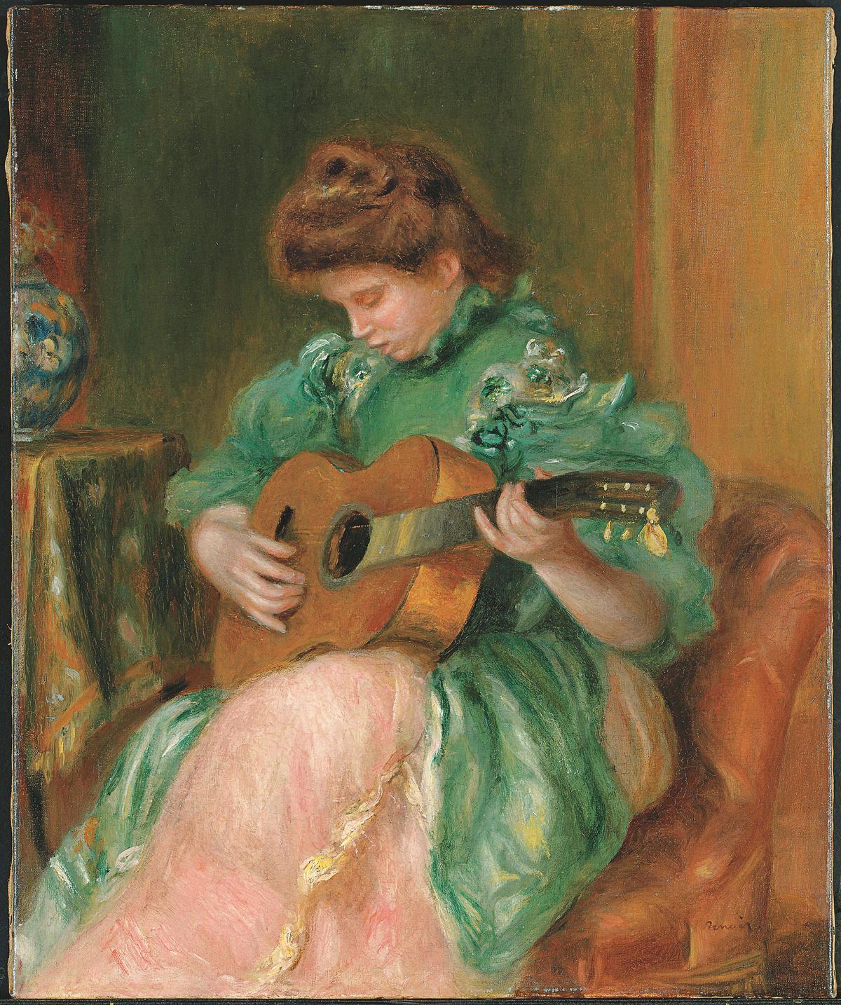 雷諾瓦畫作《彈吉他的綠衣女子》(黃崇仁提供)