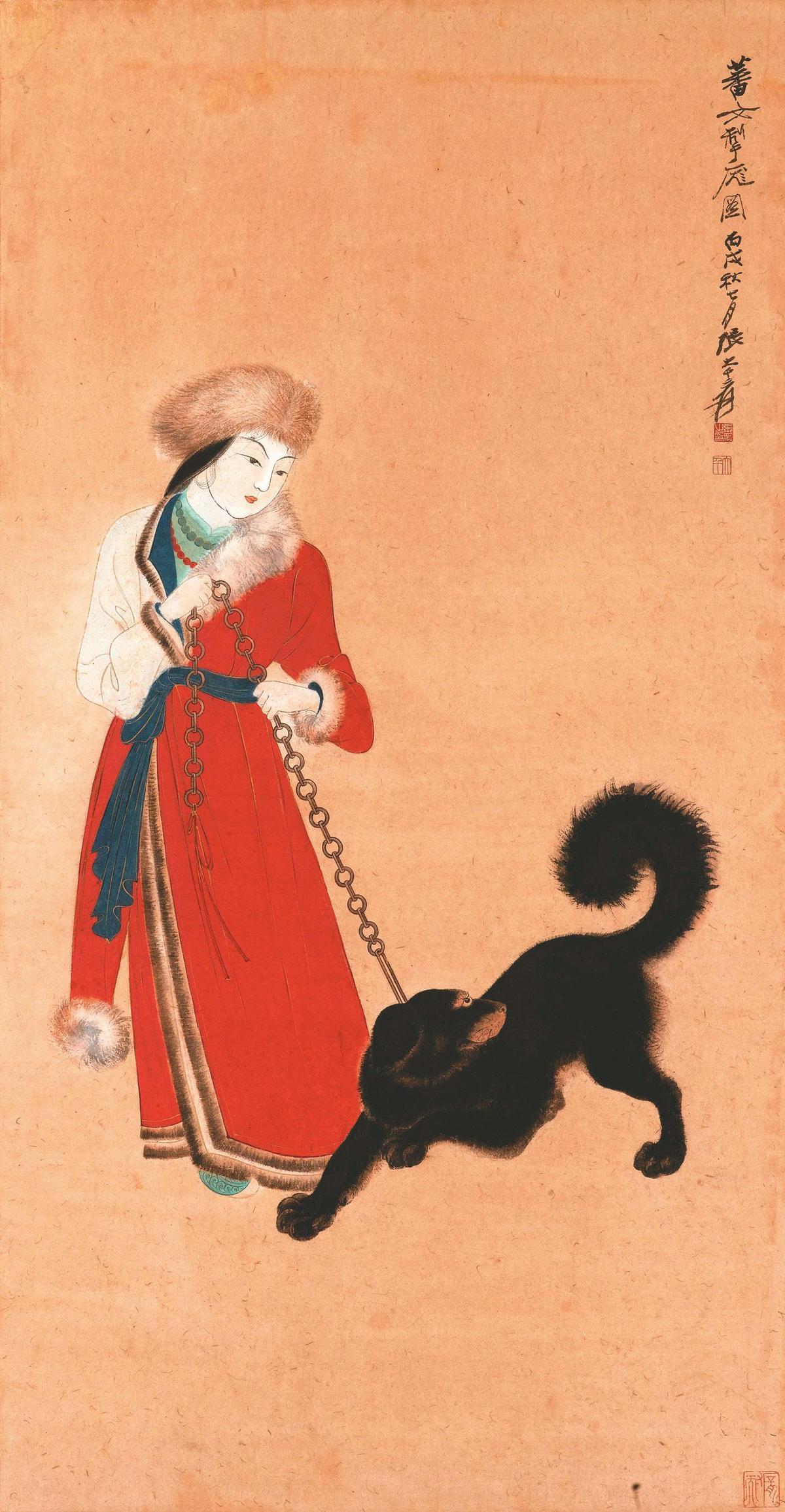 張大千畫作《蕃女掣龐圖》(黃崇仁提供)