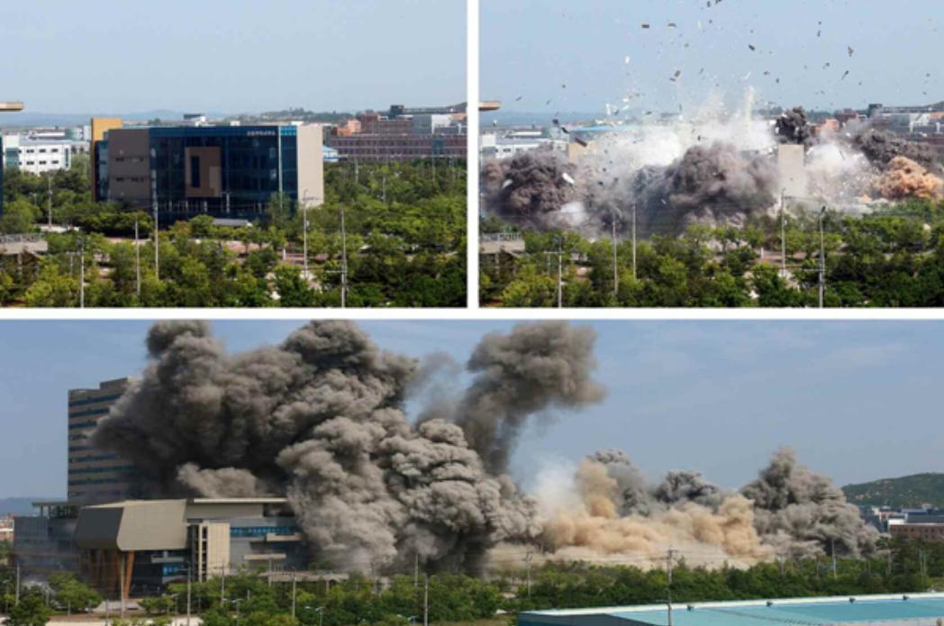 北韓官媒紛紛證實了將兩韓聯絡辦公室炸毀一事。(翻攝自勞動新聞網www.rodong.rep.kp)