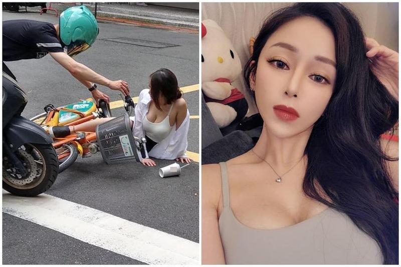 近日一名正妹騎單車摔倒的火辣身影,意外在網路掀起討論。(翻攝自爆料公社、貝果IG)