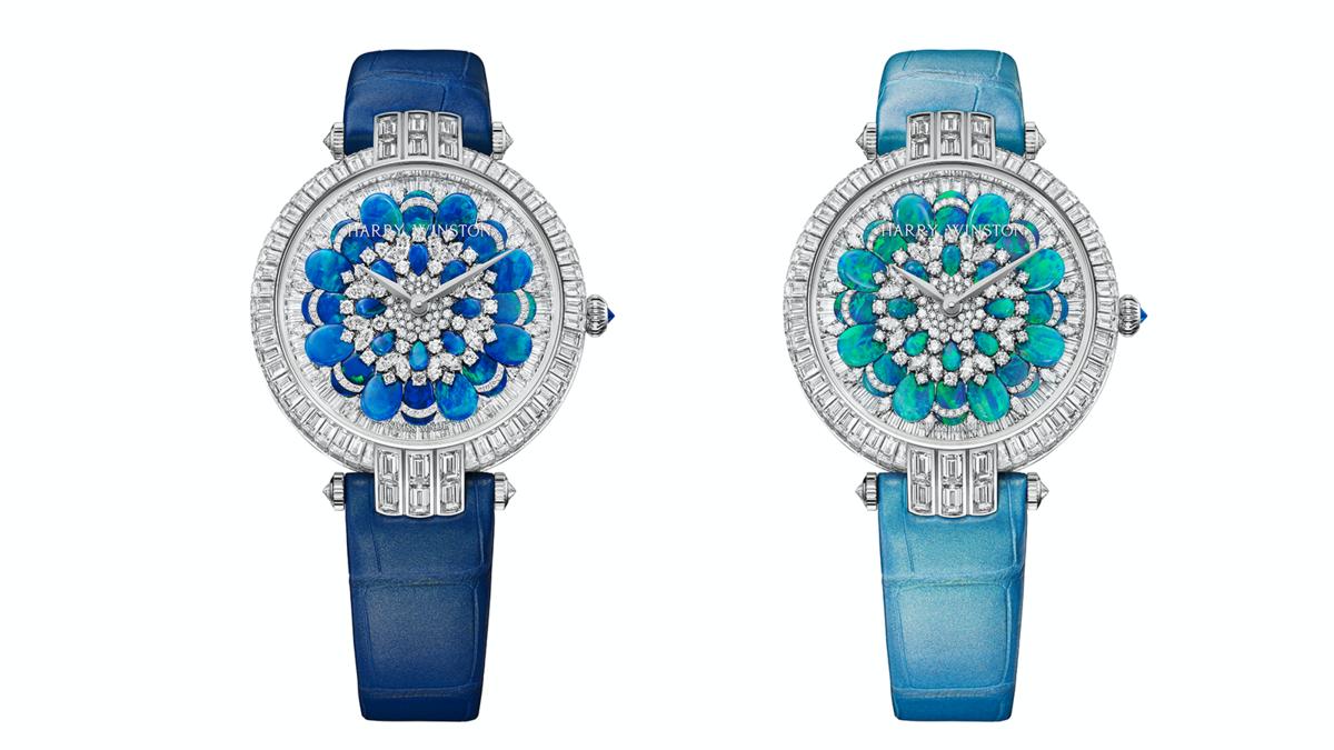 錶徑36mm/18K白金材質/時間指示/HW2008自動上鏈機芯/鑲嵌249顆長型切工鑽石(約10.24克拉)、64顆圓形明亮式切工鑽石(約0.72克拉)、32顆馬眼型切工鑽石(約0.70克拉)、圖左鑲嵌1顆圓形明亮式切工深色藍寶石(約0.06克拉)、圖右鑲嵌1顆圓形明亮式切工深色藍寶石(約0.06克拉) /防水30米