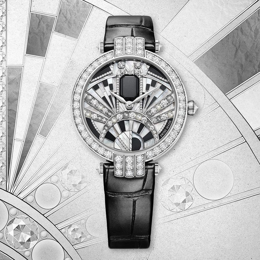 錶徑36mm/18K白金材質/時間指示/HW2008自動上鏈機芯/鑲嵌162顆圓形明亮式切工鑽石(約2.90克拉)、1顆祖母綠型切工黑玉/防水30米