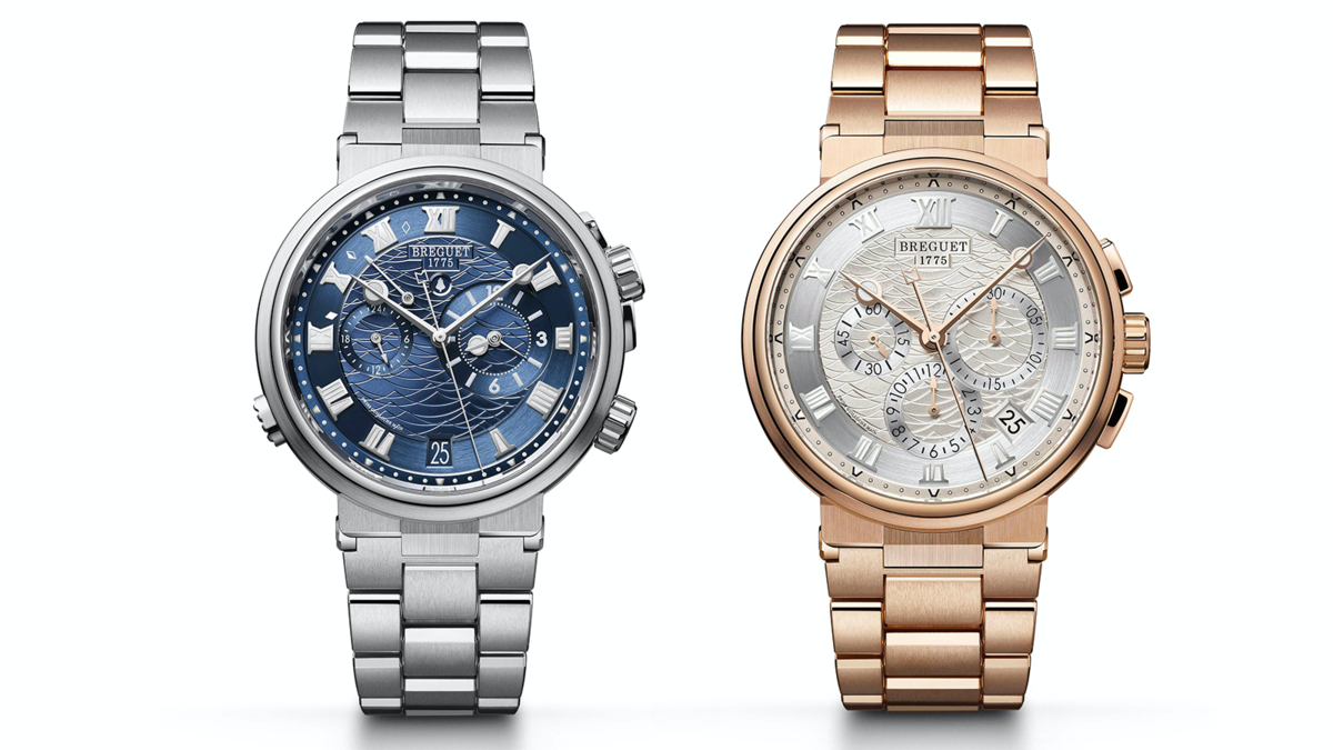 Marine系列除了大三針日期款之外,今年在計時碼錶和兩地時間鬧鈴款,也加入白金和玫瑰金的貴金屬鍊帶設計,繼皮帶款之後,加入鍊帶的改款讓Marine高級運動錶的定位更加鞏固。建議售價NT$ 1,946,000(藍面白金兩地時間鬧鈴款)、NT$ 1,817,000(銀面玫瑰金計時碼錶)。