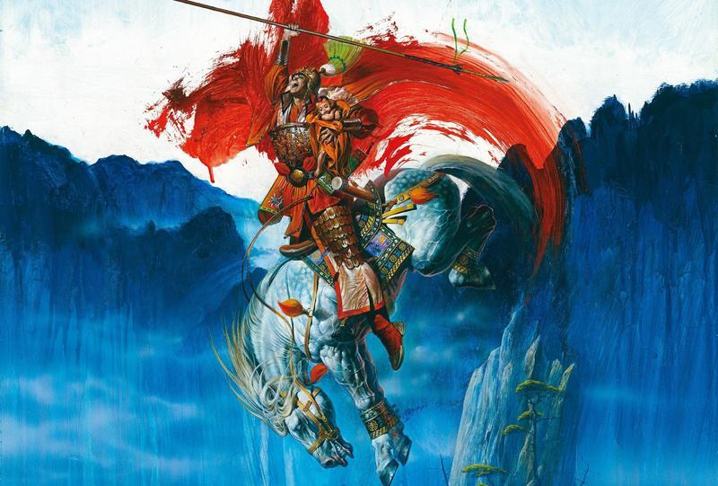 描繪趙子龍騎馬救少主的畫作《長坂坡》是鄭問最大幅的作品,在《千年一問》中,製作成3D動畫,成為全片重頭戲之一。(貝殼放大提供)
