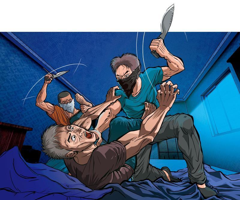 機車行楊姓老闆睡夢中被驚醒,遭闖進家中的2名蒙面人砍殺。