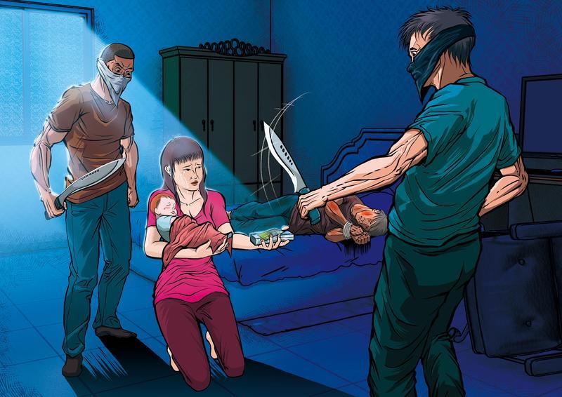 蒙面凶手砍殺機車行楊姓被害人後,要求楊妻交出財物。