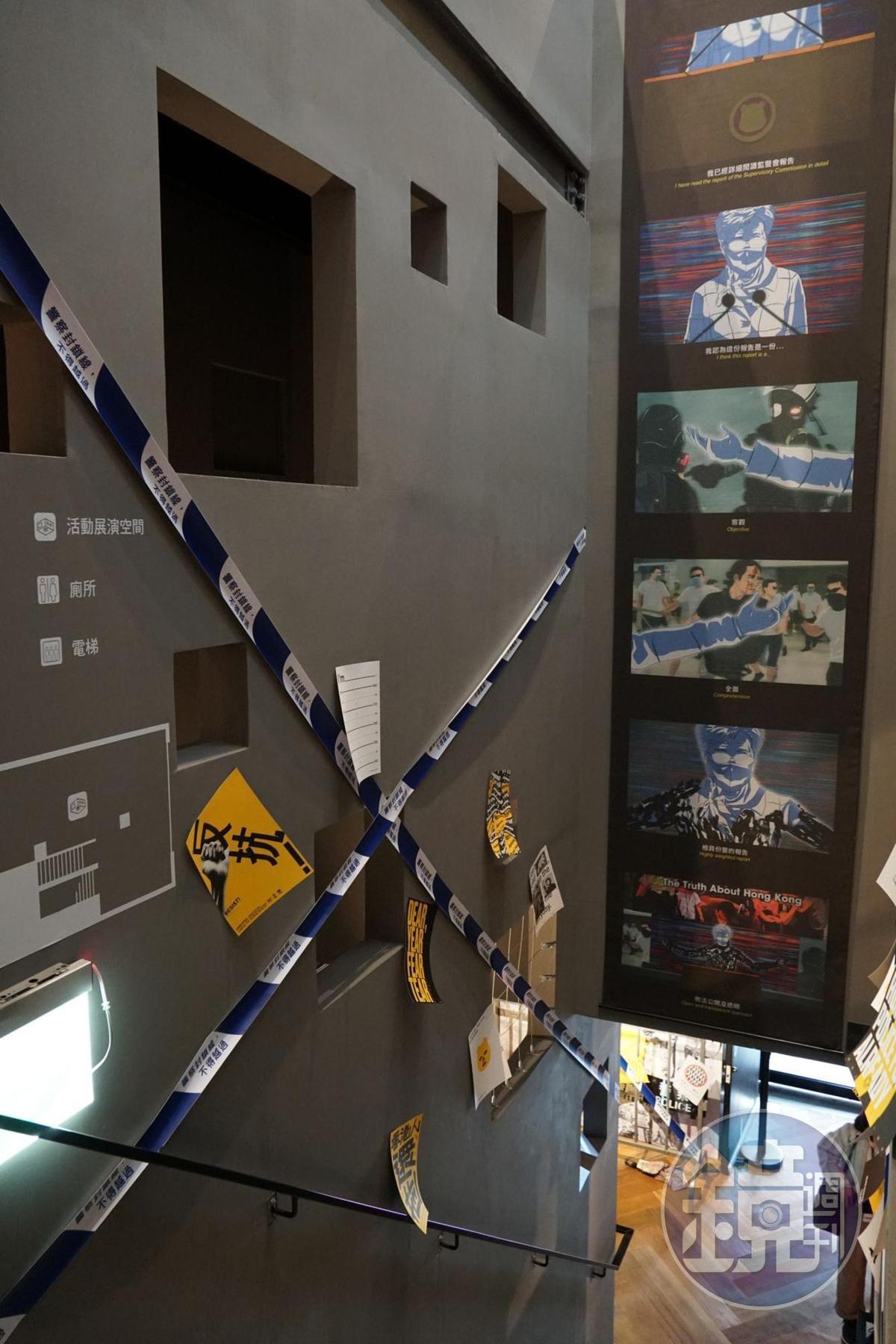 從二樓到三樓的樓梯空間,也布置了展出作品。