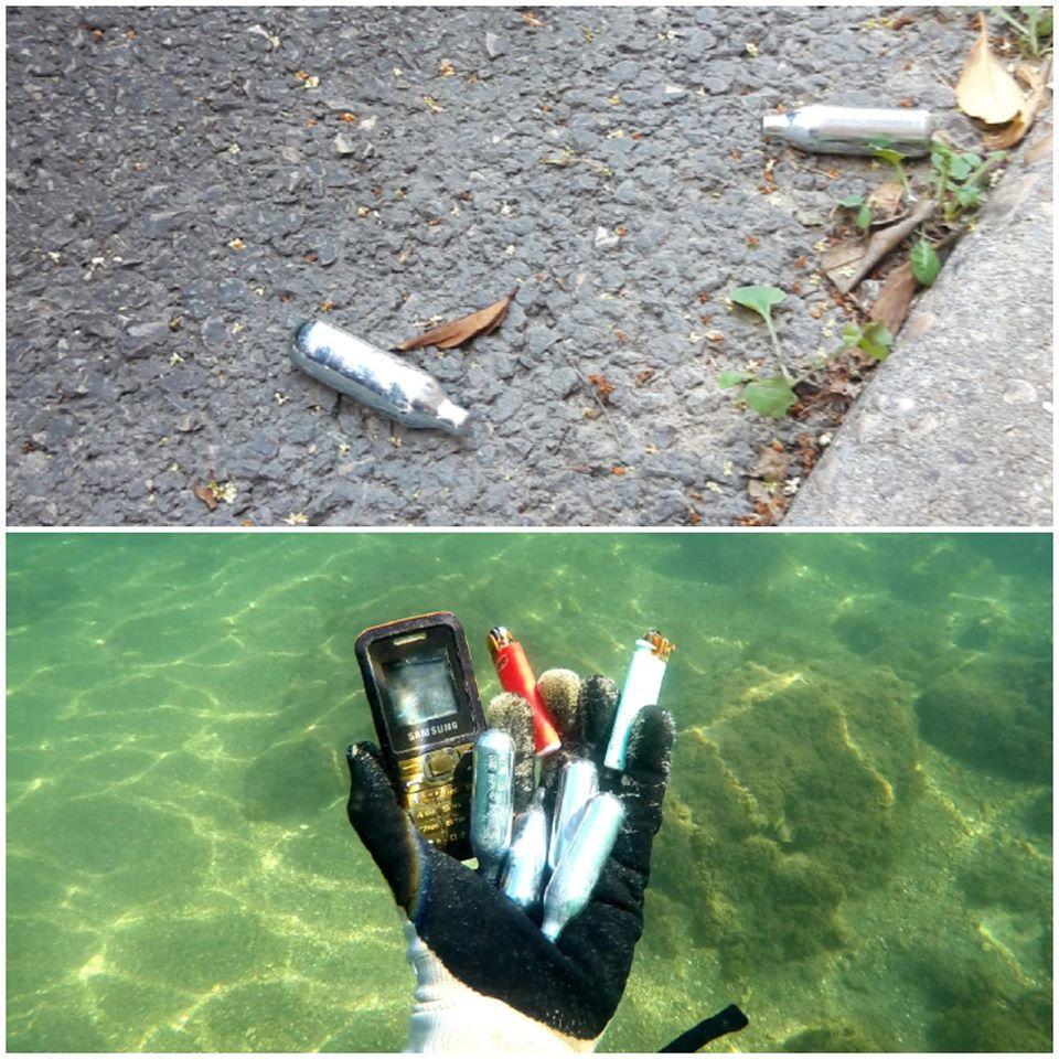 還有一支手機和大量在青少年間非常流行的派對小鋼瓶。(翻攝自Opération Mer Propre粉絲專頁)