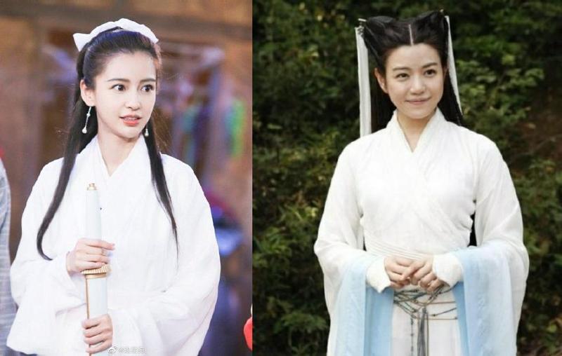 Angelababy(左)是當年《神鵰俠侶》小龍女人選,因故未出演,由陳妍希(右)接下演出,卻因圓臉被笑是「小籠包」。(網路圖片)