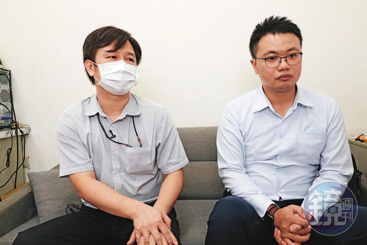 施房茶負責人(左)由律師葉書佑(右)陪同控訴遭訴,希望不要再有其他人上當受騙。