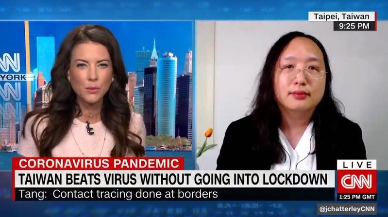 政委唐鳳接受美國《CNN》新聞專訪,分享台灣的防疫心得。(翻攝自@jchatterleyCNN 推特)