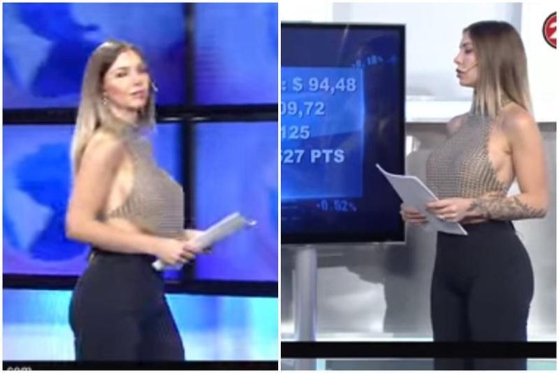 阿根廷有線電視台主播因穿的超辣爆紅,掀起大票網友熱烈討論。(翻攝自畫面)
