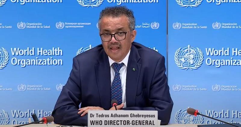 WHO祕書長譚德塞表示,他們將會派出團隊到中國調查武漢肺炎病毒起源。(翻攝自World Health Organization YouTube)