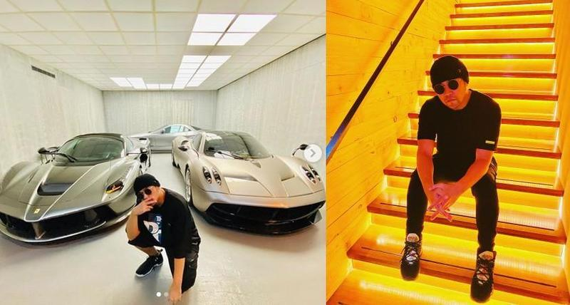 周杰倫曬他的J車庫,上頭的J型亮燈,非常符合他的性格,但3台跑車更是網友的觀戰重點。(翻攝自周杰倫IG)