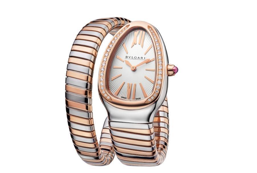 BVLGARI Serpenti Tubogas玫瑰金與精鋼腕錶。NT$413,400。(寶格麗提供)