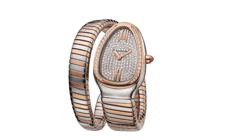 BVLGARI Serpenti Tubogas單圈玫瑰金與精鋼鑲鑽腕錶。NT$763,000。(寶格麗提供)