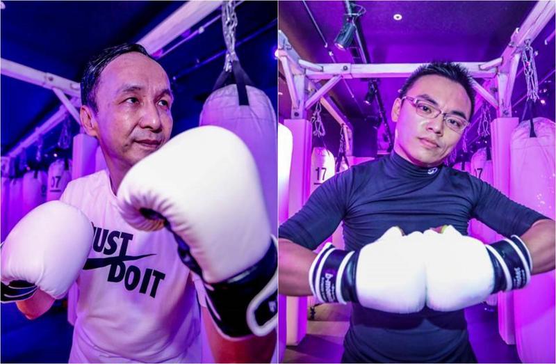 國民黨前主席朱立倫(左)率洪孟楷(右)等藍委進行拳擊特訓。(朱立倫辦公室提供)