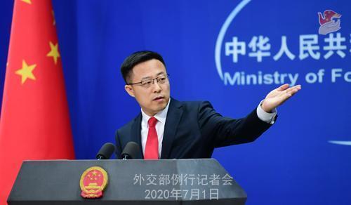 中國外交部發言人趙立堅於記者會上指出,中方要求美聯社等4間媒體7天內申報相關資料。(翻攝中國外交部網站)