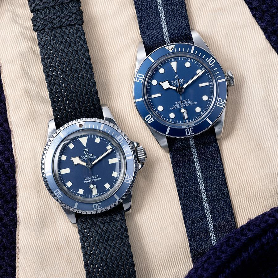 1969年帝舵推出過一款藍面潛水錶(左),開啟了之後帝舵運動錶採用藍色的傳統,今年新款Black Bay Fifty-Eight Navy Blue(右)的顏色也算是源自歷史的啟發。
