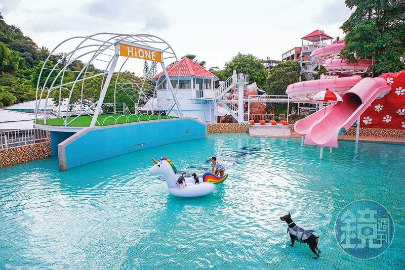台中大坑由「東山樂園」改建成的「海灣樂世界HiONE World—啵比星球」,將原有的戲水池變為毛孩子的快樂泳池,為安全起見,一旁的滑水道則不開放使用。